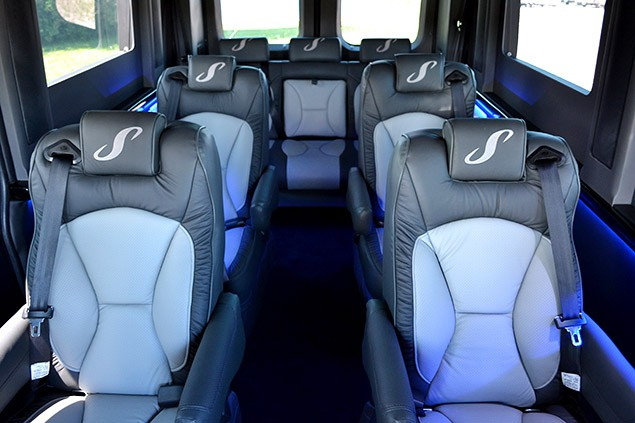 The Sherry Van has many seating options including this 9 passenger layout.